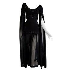 "Isabelle ALLARD Paris ""New"" Chiffon sleeves Woolen bodice Black dress - Unworn"