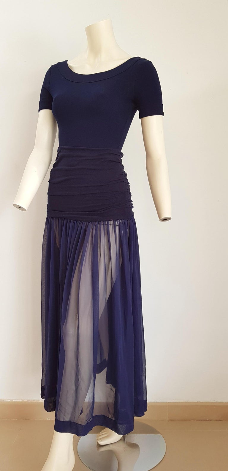 Isabelle ALLARD Paris, body, chiffon skirt, pleated black waistband, blue silk cotton Dress. Created in the Couture atelier of the Rue Saint Honoré Paris - Unworn, New.  Isabelle ALLARD is a Paris brand that created only haute couture and selling to