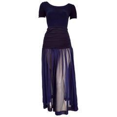 """Isabelle ALLARD Paris """"New"""" Couture Blue Body Chiffon Silk Cotton Dress - Unworn"""