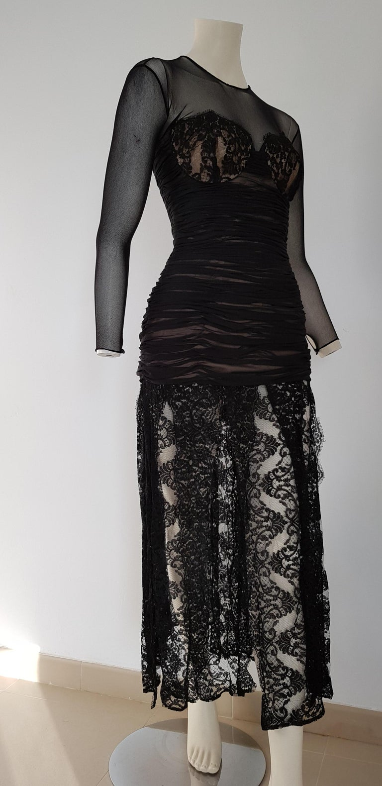 Isabelle ALLARD Paris chest and skirt laces, high pleated waistband, silk cotton black dress - Created in the Couture atelier of the Rue Saint Honoré Paris - Unworn, New.  Isabelle ALLARD is a Paris brand that created only haute couture and selling