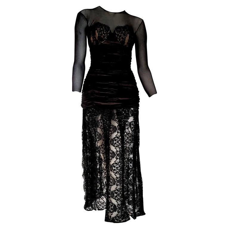 "Isabelle ALLARD Paris ""New"" Couture Chest skirt lace Silk Cotton Dress - Unworn For Sale"