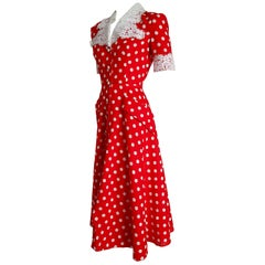 "Isabelle ALLARD Paris ""New"" Couture Chest Sleeves Lace Polka Dots Dress - Unworn"