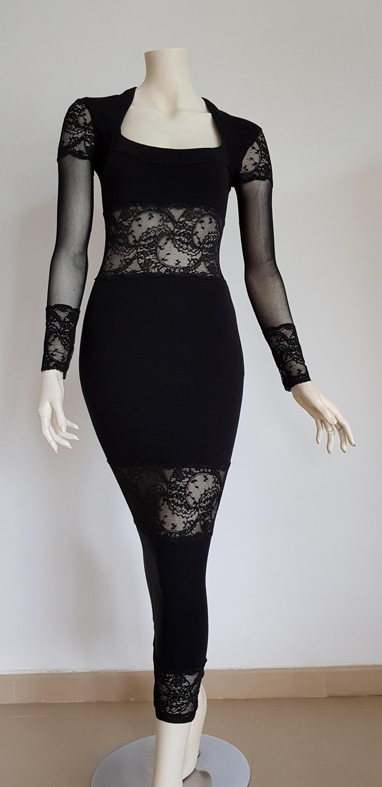 Isabelle ALLARD Paris cotton lace bands, wool and elastic silk black dress. Created in the Couture atelier of the Rue Saint Honoré Paris - Unworn, New.  Isabelle ALLARD is a Paris brand that created only haute couture and selling to international