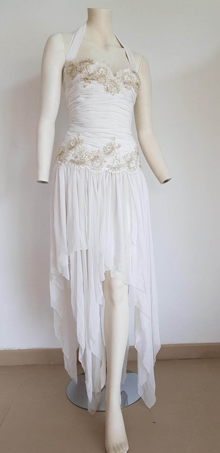 Isabelle ALLARD Paris Couture chiffon irregular hem skirt, sequins, embroidery, sleeveless silk and cotton white dress - Created in his atelier on Rue Saint-Honoré, Paris - Unworn, New.  Isabelle ALLARD is a Paris brand that created only haute