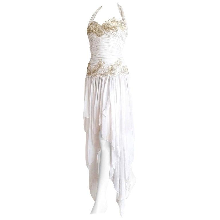 "Isabelle ALLARD Paris ""New"" Couture Sequins Chiffon Silk White Dress - Unworn For Sale"