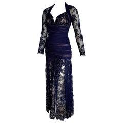 "Isabelle ALLARD Paris ""New"" Couture Skirt Lace Blue Silk Cotton Dress - Unworn"