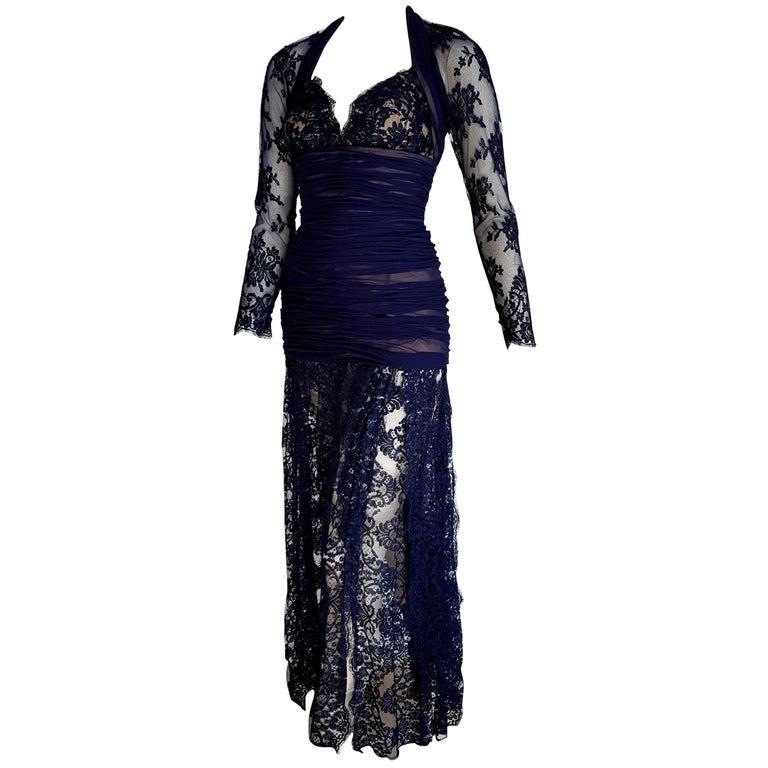 """Isabelle ALLARD Paris """"New"""" Couture Skirt Lace Blue Silk Cotton Dress - Unworn For Sale"""