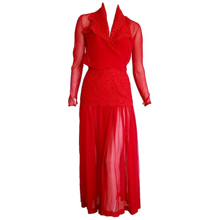 """Isabelle ALLARD Paris """"New"""" Couture Sleeves Skirt Chiffon Lace Red Dress- Unworn For Sale"""