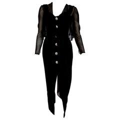 """Isabelle ALLARD Paris """"New"""" Couture Swarovski buttons Silk Wool Dress - Unworn"""