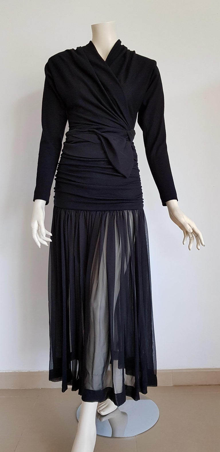 Isabelle ALLARD Paris, High wool waistband, Chiffon skirt, Body with sleeves, Black ensemble dress - Unworn, New. Isabelle ALLARD is a fashion designer that created only haute couture and selling to international customers too. It did not produce