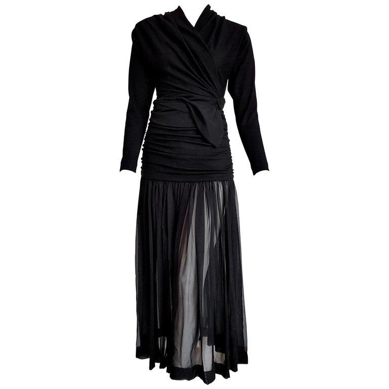 """Isabelle ALLARD Paris """"New"""" High Wool Waistband Chiffon Skirt Black Dress-Unworn For Sale"""