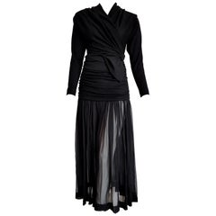 "Isabelle ALLARD Paris ""New"" High Wool Waistband Chiffon Skirt Black Dress-Unworn"
