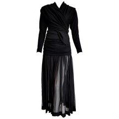 """Isabelle ALLARD Paris """"New"""" High Wool Waistband Chiffon Skirt Black Dress-Unworn"""