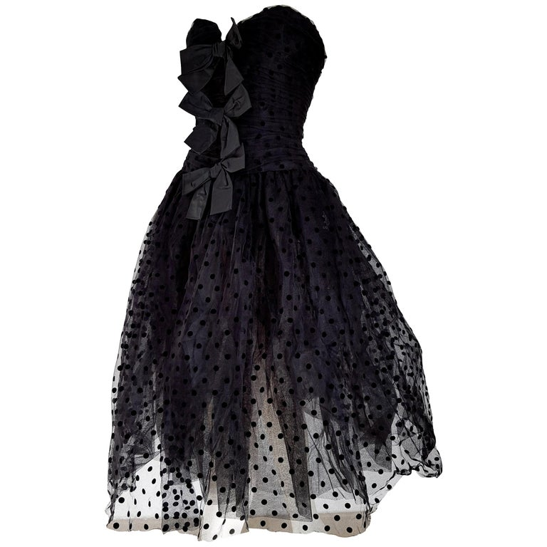 "Isabelle ALLARD Paris ""New"" Polka dots Plumetis fabric Black Dress - Unworn For Sale"