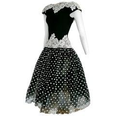 "Isabelle ALLARD Paris ""New"" Polka Dots Waist Lace Black Silk Wool Dress - Unworn"