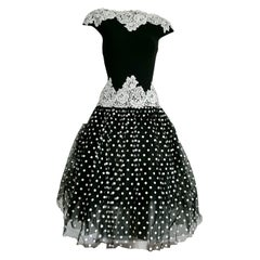 "Isabelle ALLARD Paris ""New"" Polka Dots Waist Lace Black Silk Wool Dress - Unworn"