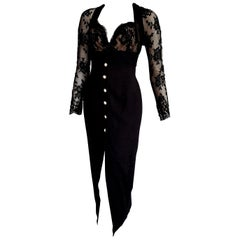"Isabelle ALLARD Paris ""New"" Sleeves chest lace Silk Wool Black Dress - Unworn"