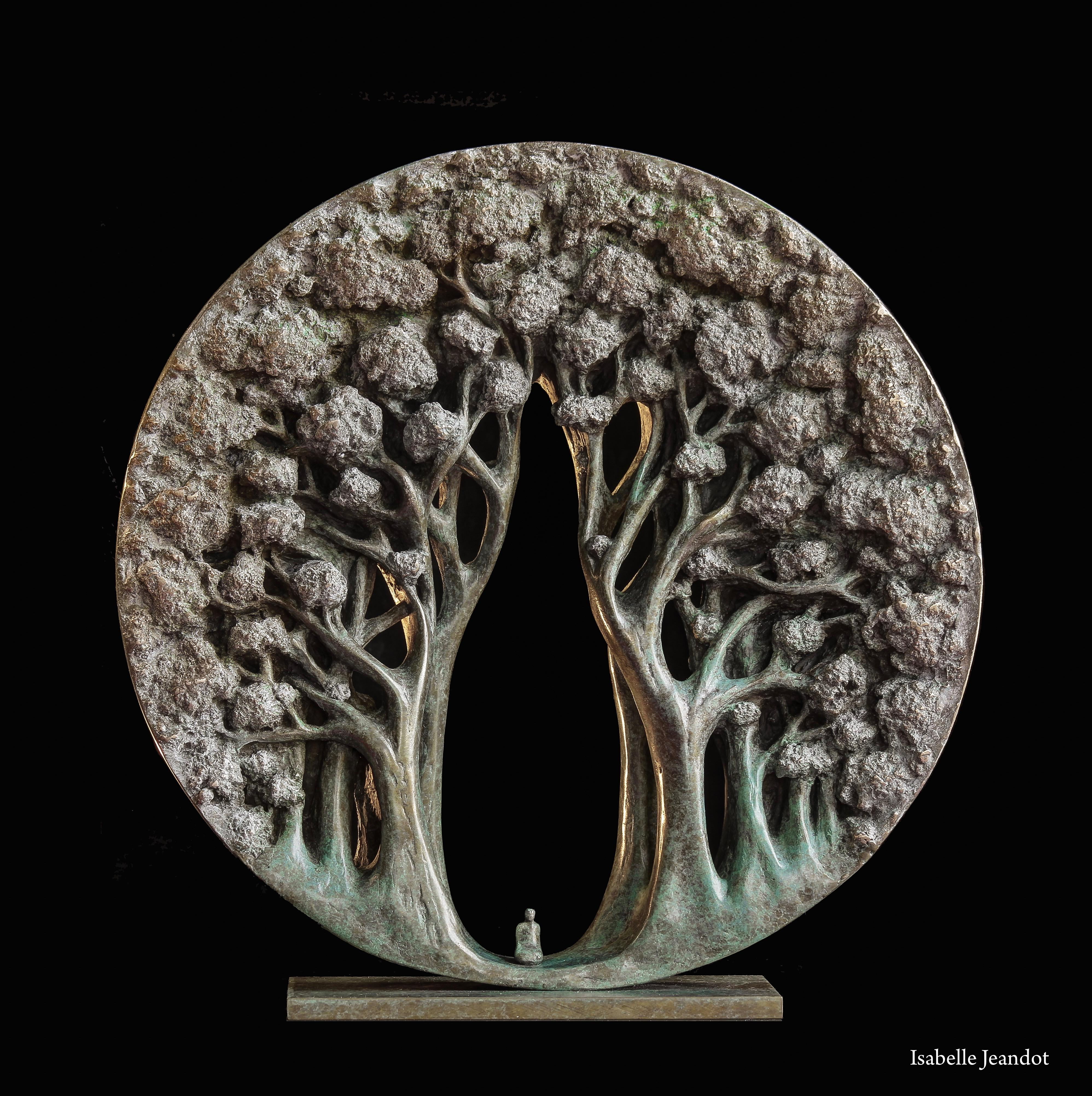 """""""The temple"""", Small Character in a Forest Circular Figurative Bronze Sculpture"""