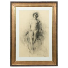 "Isabelle Melchior, ""Seated Nude,"" Charcoal on Paper, Signed and Dated"