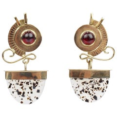 Isabelle Posillico 1980s Style Garnet, Moss Agate and Gold Pendant Earrings