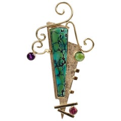 Isabelle Posillico Asymmetric Gold, Turquoise & Gem Set 1980s Style Brooch