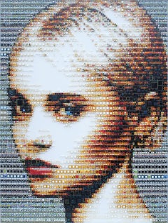 """Allegra"" - glass fusing, pointillism, dots, pop art, model, celebrity, beauty"