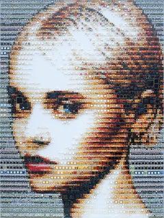 """""""Allegra"""" - glass fusing, pointillism, dots, pop art, model, celebrity, beauty"""