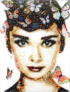 """""""Born in Brussels"""" - glassfusing, pointillism, pop art, model, celebrity, beauty"""