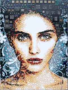 """Carsi"" -- glass fusing, pointillism, dots, pop art, model, celebrity, beauty"