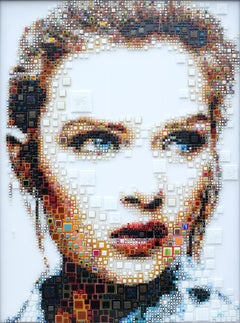 """Fluenca"" - glass fusing, pointillism, dots, pop art, model, celebrity, beauty"