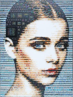 """Loranna"" -- glass fusing, pointillism, dots, pop art, model, celebrity, beauty"