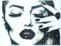 """Love Cat"" - glass fusing, pointillism, dots, pop art, model, celebrity, beauty"
