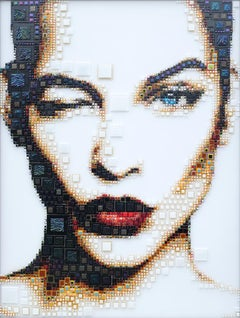 """Ma Cherie"" - glass fusing, pointillism, dots, pop art, model, celebrity, beauty"