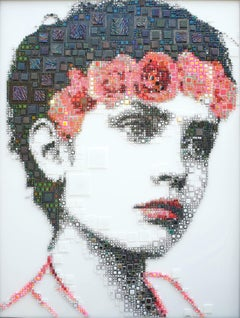 """Rachel"" - glass fusing, pointillism, dots, pop art, model, celebrity, beauty"
