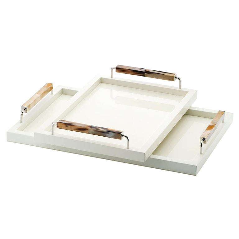 Isacco Tray in Glossy Ivory Lacquered Wood, Horn and Chromed Brass, Mod. 1792 For Sale