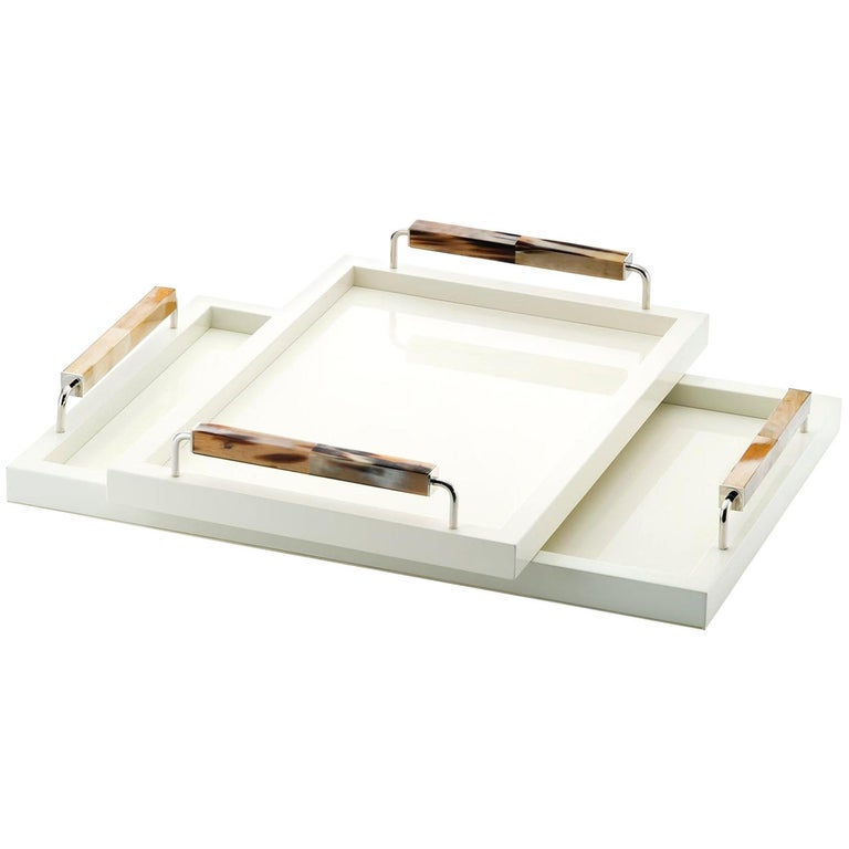 Isacco Tray in Lacquered Wood, Corno Italiano and Chromed Brass, Mod. 1792 For Sale