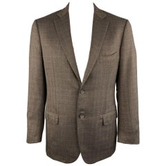 ISAIA 42 Brown Plaid Wool Notch Lapel Sport Coat / Blazer / Jacket
