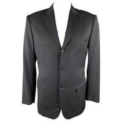 ISAIA 42 Long Black Wool Notch Lapel Sport Coat