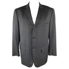 ISAIA 48 Long Black Wool Notch lapel Single Breasted Sport Coat