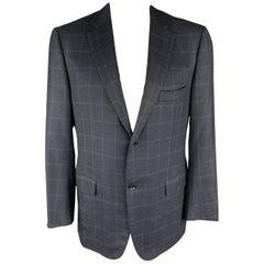 ISAIA 48 Navy Window Pane Wool Notch Lapel Sport Coat