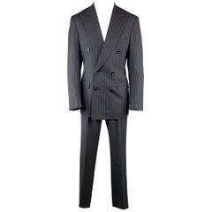 ISAIA Chest Size 40 Long Stripe Navy Wool 32 34 Peak Lapel Suit