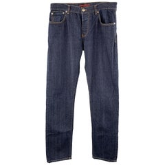ISAIA Size 34 Indigo Selvedge Denim Contrast Stitching Button Fly Jeans