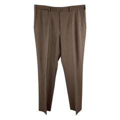 ISAIA Size 38 Brown Wool Zip Fly Tab Dress Pants