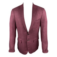 ISAIA Size 38 Regular Burgundy Wool Blend Notch Lapel Sport Coat