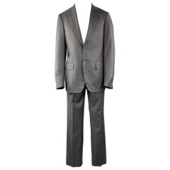 ISAIA Size 40 Regular Stripe Dark Gray Wool Notch Lapel Suit
