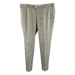 ISAIA Size 40 Speckled Heather Gray Woven Wool Zip Fly Dress Pants