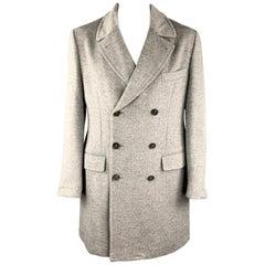 ISAIA Size 46 Gray Angora / Wool Double Breasted Long Peacoat
