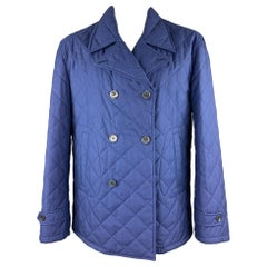 ISAIA Size 48 Royal Blue Quilted Cotton / Wool Double Breasted Peacoat