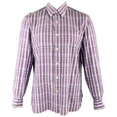 ISAIA Size L Purple Plaid Cotton Button Up Long Sleeve Shirt