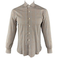 ISAIA Size M Brown & White Plaid Cotton Button Up Long Sleeve Shirt